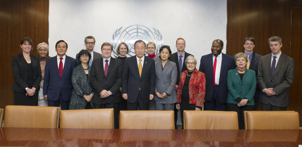Secretary-General Meets Co-Chairs of the Secretary-GeneralÕs Independent Expert Advisory Group on the Date Revolution for Sustainable Development.