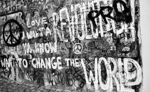 a mural of the famous beatles lyrics